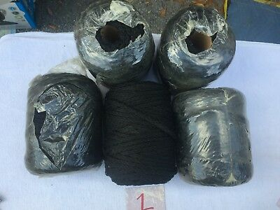 Vintage Macrame Cord  Black  Lot of 5