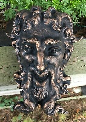 Grotesque Bronze Effect Gargoyle/ Rams Head Garden Ornament