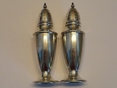 Vintage Antique Sterling Silver Footed Salt and Pepper Shakers Pair Set
