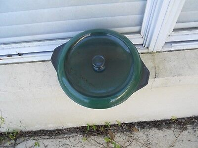 Vintage Cast Iron GREEN  Enamel Dutch Oven Made in France # 28 stamped used