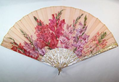 SUPERB LARGE 19thC french mother-of-pearl hand painted GLADIOLAS fan