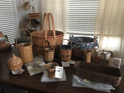 Lot of 10 Longaberger Baskets and Pottery