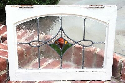 Antique English 4-Color Leaded Framed Stained Glass Window TRANSOM ~~Last One~~
