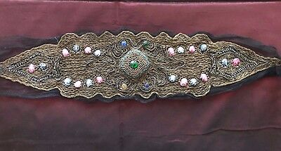 Authentic French antique 1920s handmade embroidered ORNAMENT ART DECO work