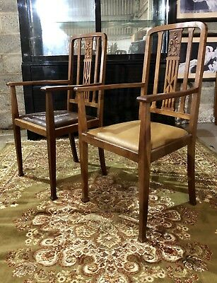 Pair Antique Arts & Crafts Carved Oak Carvers Hall Chairs