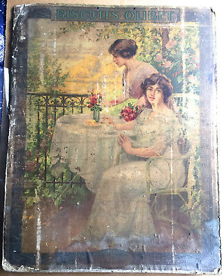 Large Cardboard French Antique Biscuits Olibet Sign - Rare?