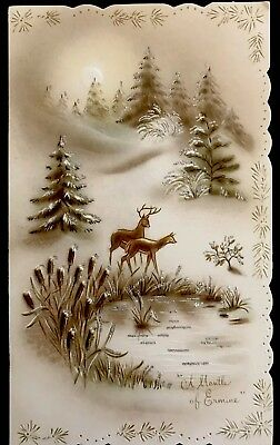 Deer & Stag Snowy Forest Hills Glitter Pond  Icy Cat-Tails  Vtg XMAS Card 1950's