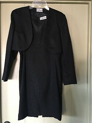 Vintage 90's Italian Black Silk Cocktail Dress & Bolero Jacket - M