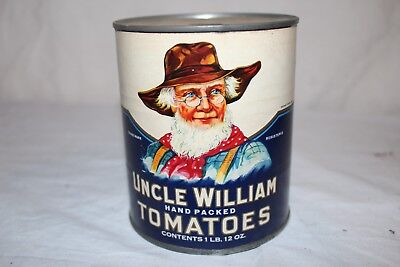 Vintage 1920's Uncle William Canned Tomatoes Vegetable Metal Can  Sign