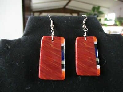 New Hand Made Santo Domingo Native American Coral With Inlay Slab Earrings