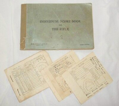 1935 US Army Rifle Individual Score Book Used in 1941 WWII Named Military