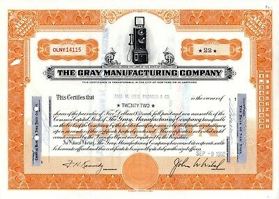 Gray Manufacturing Company (Telephone Services) 1960 Stock Certificate