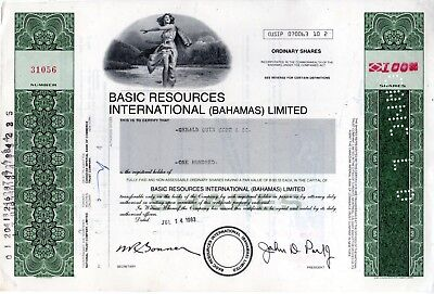 Basic Resources - Oil and Gas related Company 1983 Stock Certificate