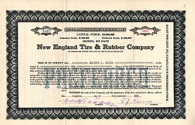 New England Tire and Rubber Company 1922 Stock Certificate