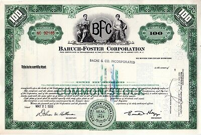 Baruch Foster Corporation - an  Oil and Gas Company 1969 Stock Certificate