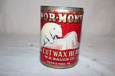 Vintage 1929 Nor Mont Canned Cut Wax Beans Vegetable Metal Can Sign