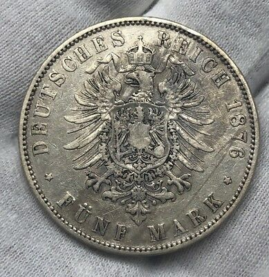 1876-E 5 MARK FUNF  - GERMANY - GERMAN STATES - PRUSSIA - SILVER COIN Wilhelm I.