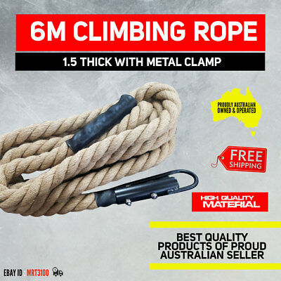 "6 Meters Long Climbing Rope 1.5"" with Metal Clamp Crossfit Gym Ninja Fitness"