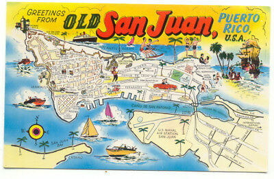 Old San Juan Puerto Rico Greetings Map Postcard