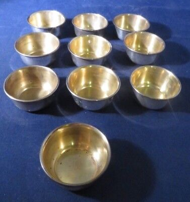 Set of 10 Vintage Open Salt Cellars Dishes - Sterling Silver by W. - 66.9 Grams