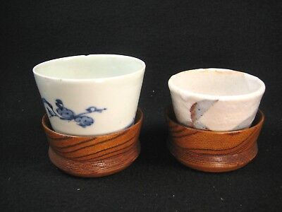 Antique Set Of 2 Japanese Wooden Hand Lathed Chataku Tea Cup Saucer