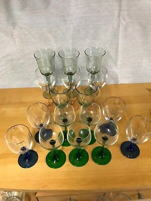 17 Coloured Wine Glasses