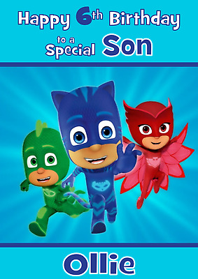 PJMASKS Personalised A5 Birthday Card Son Grandson Brother Nephew Name Age