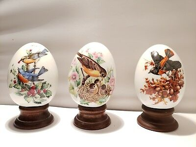 AVON FOUR SEASONS EGGS PORCELAIN SET OF THREE Song Birds and Blossoms 1984