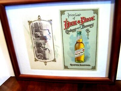 FACTORY SIGN Pre-Pro DICK BROS QUINCY BEER Litho BREWERY Bottle DICK'S ILLINOIS