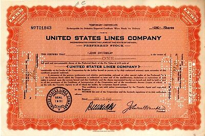The United States Lines Company 1942 Ocean Liners-Cargo Ships Stock Certificate