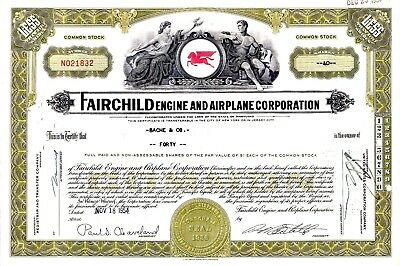 Fairchild Engine & Airplane Corporation of Maryland 1954 Stock Certificate