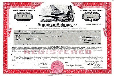 American Airlines Incorporated 1980 $25000 Registered Bond Certificate