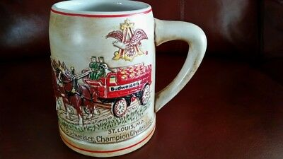 1980 BUDWEISER HOLIDAY CHRISTMAS STEIN MUG 1st IN SERIES CLYDESDALESS BY CERAMAR