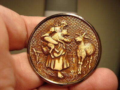 "Antique brass and IVOROID Celluloid RARE ""THE BELATED KID"" large button"