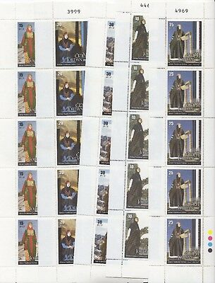Jordan - 2007 - Traditional clothes  - 5 vertical minisheets of 5 stamps - MNH