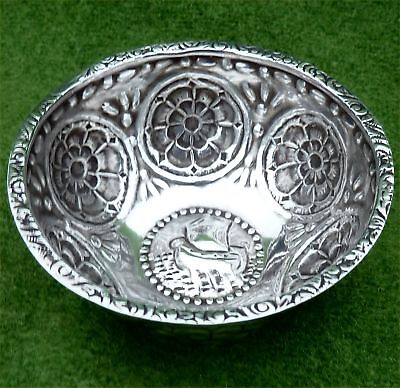 SMALL VINTAGE DECORATED SCANDINAVIAN SILVER BOWL - 1.50 ozt