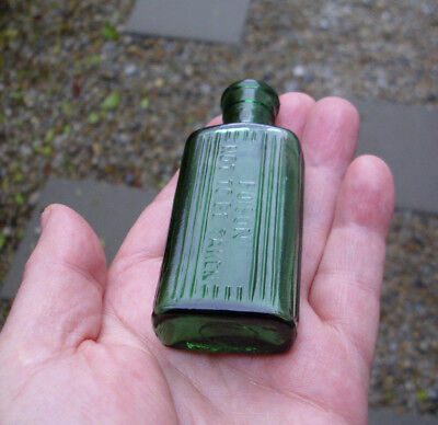 Vintage/antique, cool, exotic...out of Africa,deep sage green 1 oz poison bottle