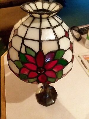 PartyLite Poinsettia Tiffany Style Stained Glass Shade, Tealight Candle Lamp