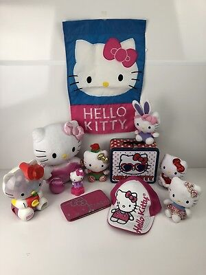 Hello Kitty Vintage Modern Plush-Banner-Hat-Lunch Box-Gumball-Wallet Mixed Lot