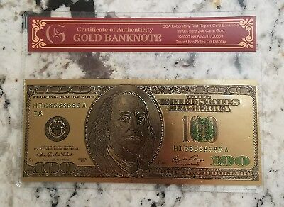 24K GOLD Plated Foil $100 Dollar Bill Collectible Novelty Collection Note Gift