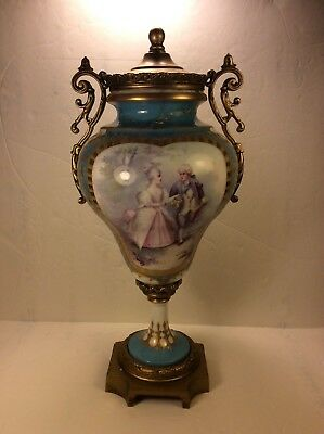 Antique Sevres Hand Painted Porcelain Urn Vase Bronze Mounted. 14""