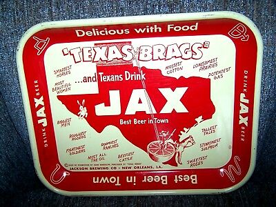 COWBOY TEXAS BRAGS DRINK JAX Beer Tray Sign JACKSON BREWING Tin NEW ORLEANS Bar