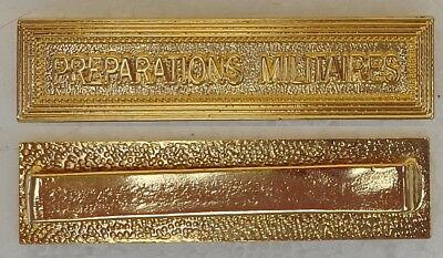"Full Size Gilt Metal Clasp (Agrafe) For French Medal - ""preparations Militaires"""