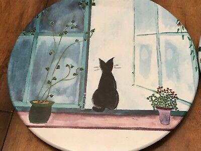 Vintage Mebel Hot Plate/trivet •italy •black Cat Looking Out Window •melamine