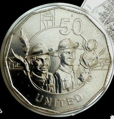 2018 The Anzac Spirit Values  Collection CARDED 50c Coin  - UNITED  Coin 1 #1