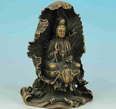 Chinese Old Hand Carved Collection Bronze Buddha Kwan-yin Statue Ornament e01