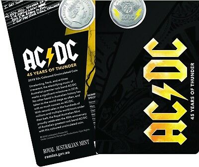 1x AC/DC 45 Years of Thunder 2018 50c Coloured Uncirculated Coin