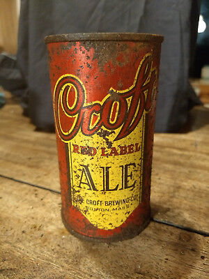 Croft Ale  Red Flat top Beer Can