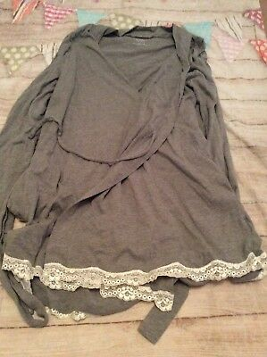 Motherhood Maternity Nursing Robe Only Grey Lace Size Medium Super Cute