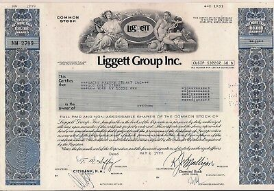 Liggett Group Inc., dated 1977 stock cerificate State of Delaware